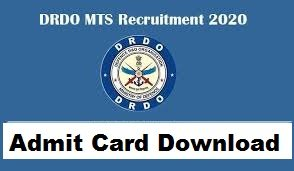 DRDO CEPTAM MTS Admit card 2020 drdo.gov.in