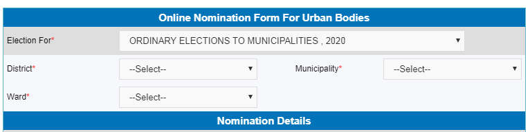Online Nomination In Municipality Elections