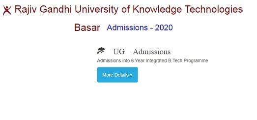 RGUKT IIT Basar Admissions 2020